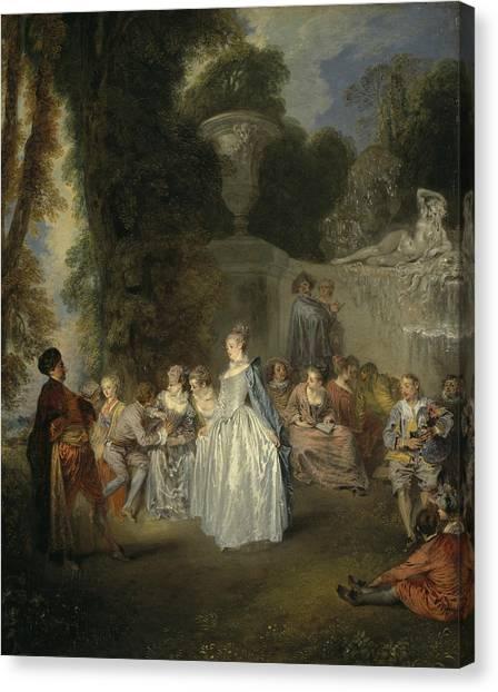 Rococo Art Canvas Print - Fetes Venitiennes by Antoine Watteau