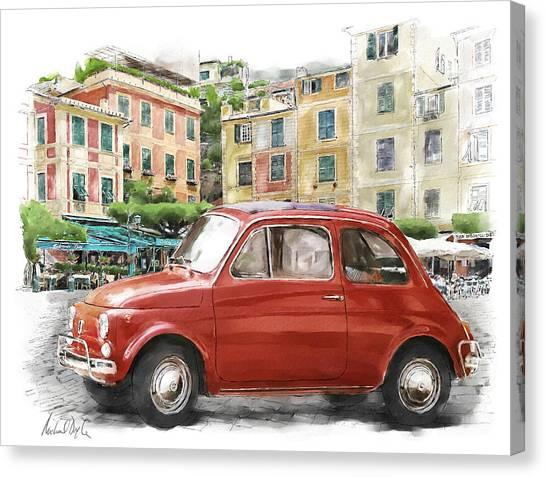 Portofino Cafe Canvas Print - Fiat 500 Classico by Michael Doyle