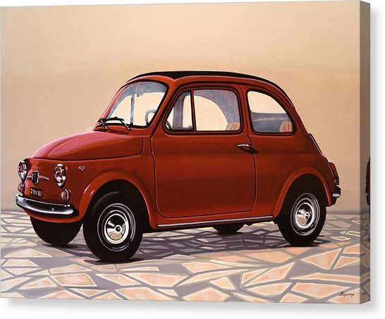 Realism Art Canvas Print - Fiat 500 1957 Painting by Paul Meijering