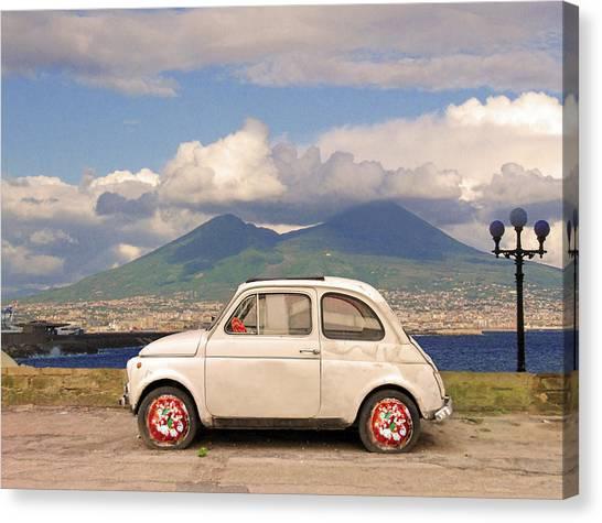 Italian Canvas Print - Fiat 500 Pizza by Dario ASSISI