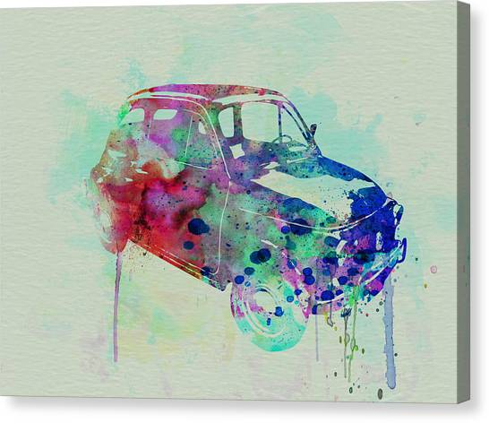 Italian Canvas Print - Fiat 500 Watercolor by Naxart Studio