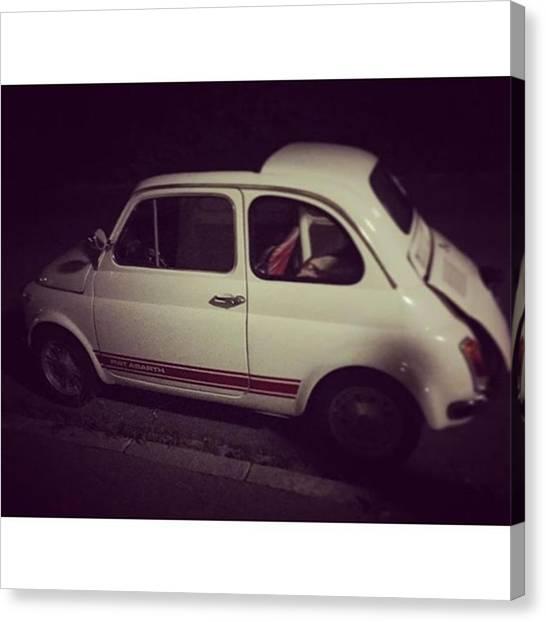 Binders Canvas Print - Fiat Abarth In The Night. Oldi But Goldi by Alex Binder