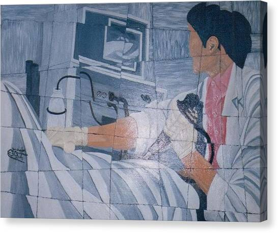 Fibroscopie 2005 Canvas Print by Mohamed-Hosni Belkorchi