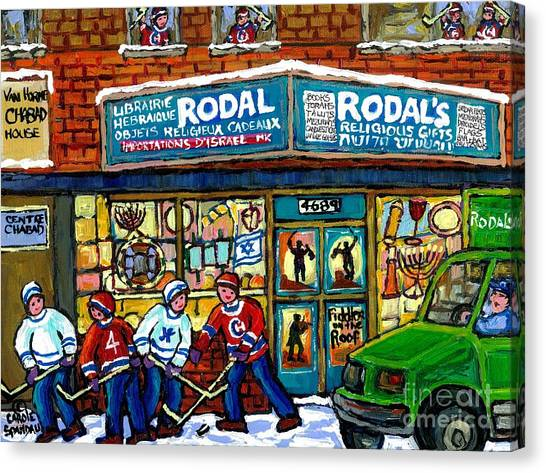 Fiddler On The Roof Painting Canadian Art Jewish Montreal Memories Rodal Gift Shop Van Horne Hockey  Canvas Print