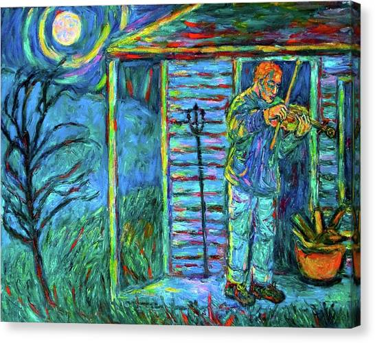 Fiddling At Midnight's Farm House Canvas Print