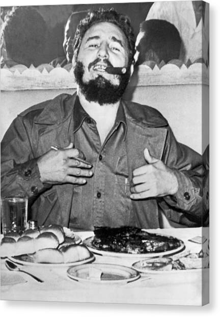 Conference Usa Canvas Print - Fidel Castro In New York by Underwood Archives