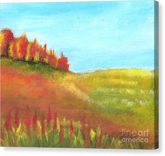 Field In Autumn Canvas Print by Vivian  Mosley
