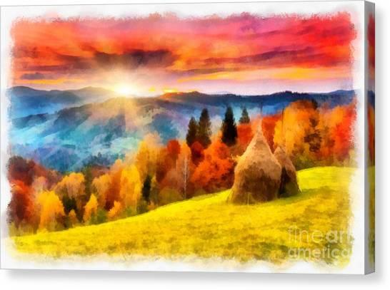 Field Of Autumn Haze Painting Canvas Print