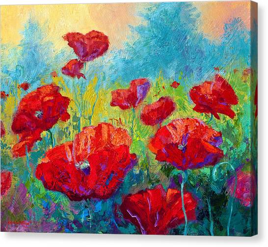 Vineyard Canvas Print - Field Of Red Poppies by Marion Rose