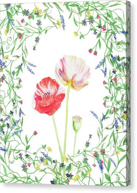 Wedding Bouquet Canvas Print - Field Poppies And Wildflowers Watercolor  by Irina Sztukowski