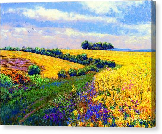Countryside Canvas Print - Fields Of Gold by Jane Small
