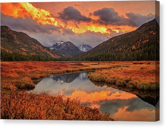 Fiery Bear River Sunset Canvas Print by Johnny Adolphson