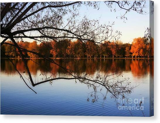 Fiery Colors On The Lake Canvas Print