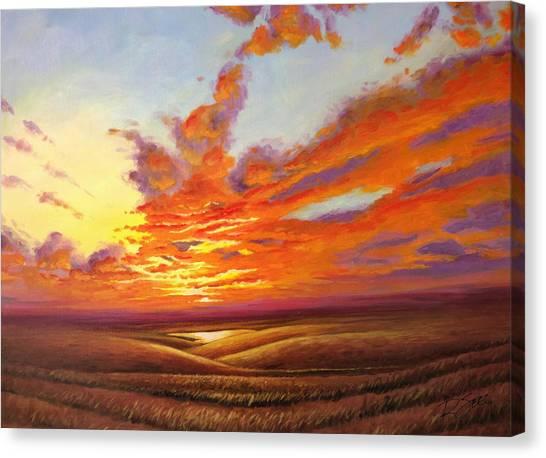 Fiery Flint Hills Sky Canvas Print