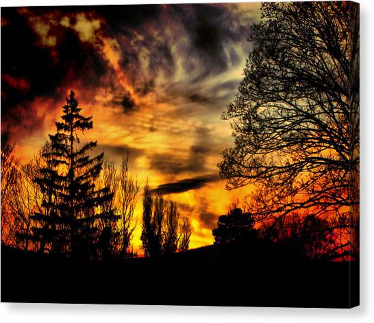 Fiery Forest Sunset Canvas Print