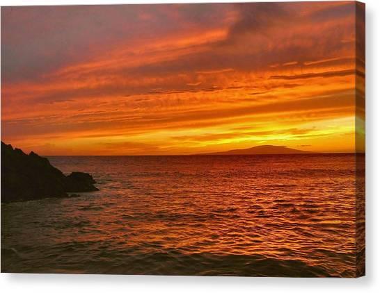 Fiery Makena Sunset Canvas Print by Stephen  Vecchiotti