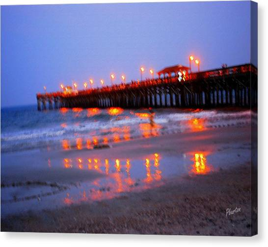 Fiery Pier Canvas Print