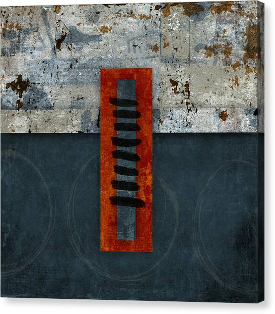 Collage Canvas Print - Fiery Red And Indigo One Of Two by Carol Leigh