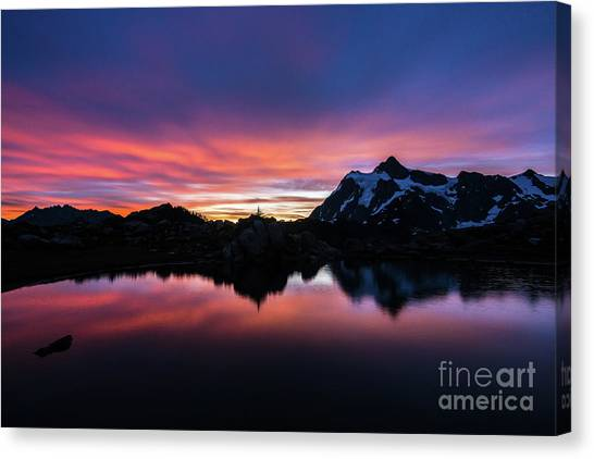 Table Mountain Canvas Print - Fiery Shuksan Sunrise Reflection by Mike Reid