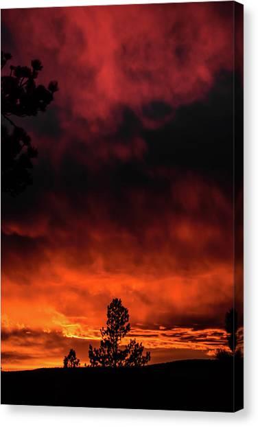 Canvas Print featuring the photograph Fiery Sky by Jason Coward