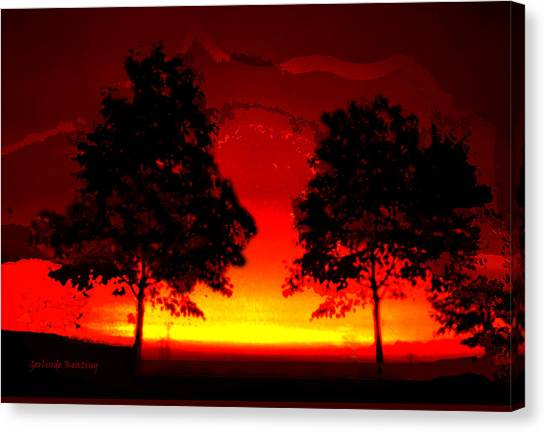 Fiery Sundown Canvas Print