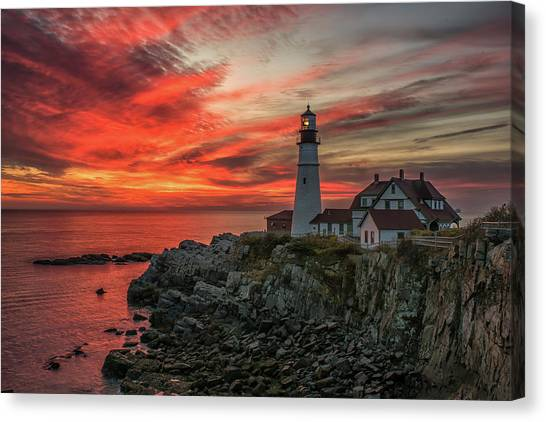 Fiery Sunrise At Portland Head Light Canvas Print