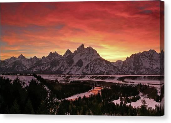 Fiery Sunset On Snake River Canvas Print