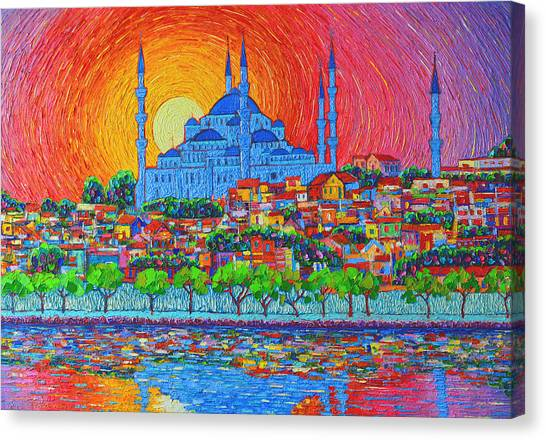 City Sunsets Canvas Print - Fiery Sunset Over Blue Mosque Hagia Sophia In Istanbul Turkey by Ana Maria Edulescu