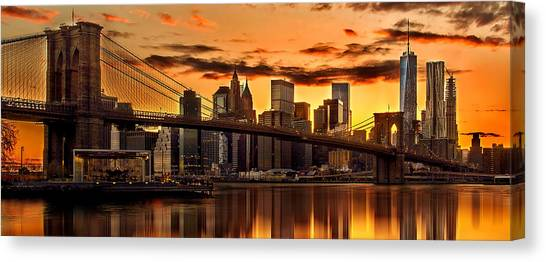 New York Skyline Canvas Print - Fiery Sunset Over Manhattan  by Az Jackson