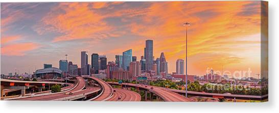 University Of Houston Canvas Print - Fiery Sunset Panorama Of Downtown Houston Skyline  by Silvio Ligutti