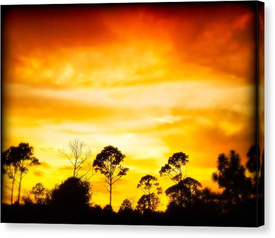 Fiery Sunset Canvas Print by Rich Leighton
