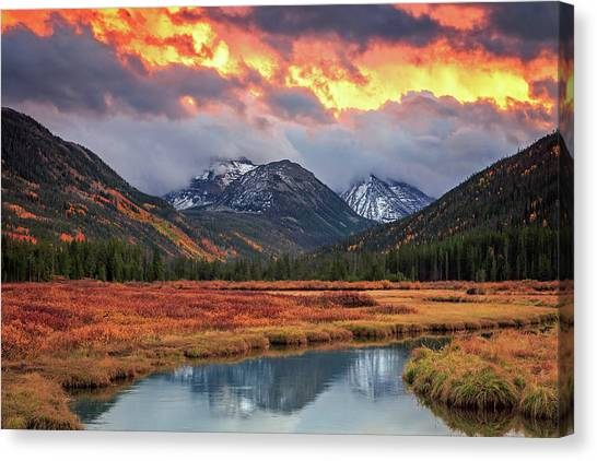 Uinta Canvas Print - Fiery Uinta Sunset by Johnny Adolphson