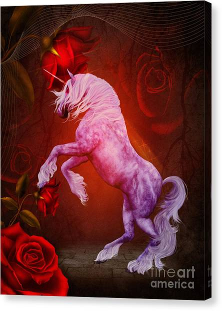 Fiery Unicorn Fantasy Canvas Print