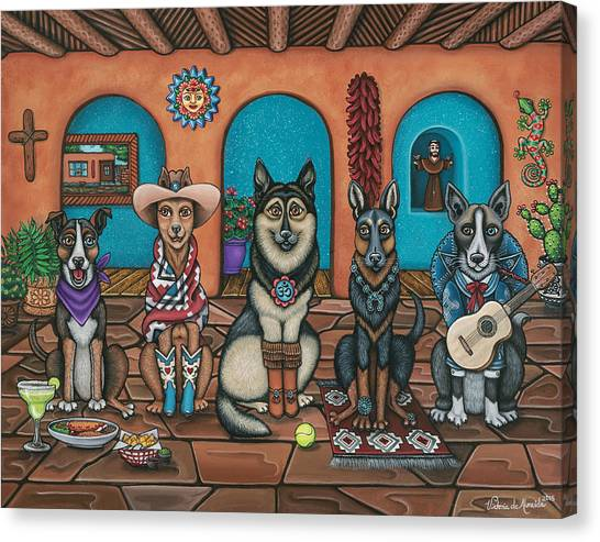 Folk Art Canvas Print - Fiesta Dogs by Victoria De Almeida