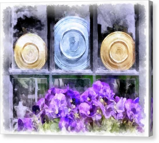 Fiestaware Window Display With Pansies Canvas Print