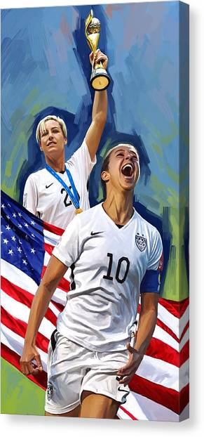 Fifa Canvas Print - Fifa World Cup U.s Women Soccer Carli Lloyd Abby Wambach Artwork by Sheraz A