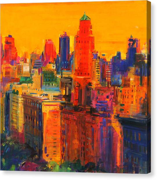 Manhattan Skyline Canvas Print - Fifth And Madison by Peter Graham