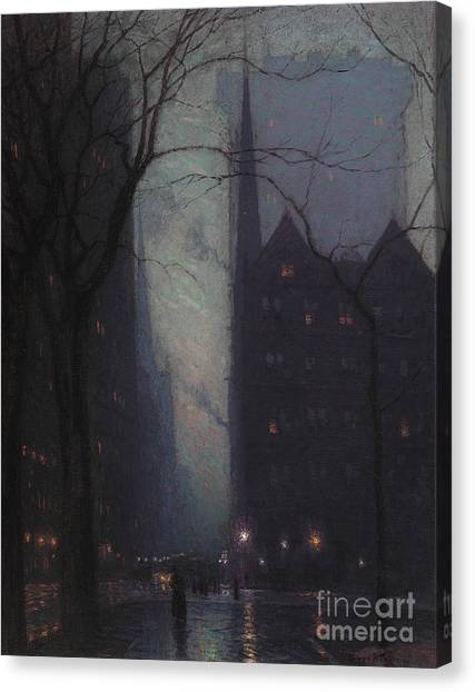Streetlights Canvas Print - Fifth Avenue At Twilight by Lowell Birge Harrison