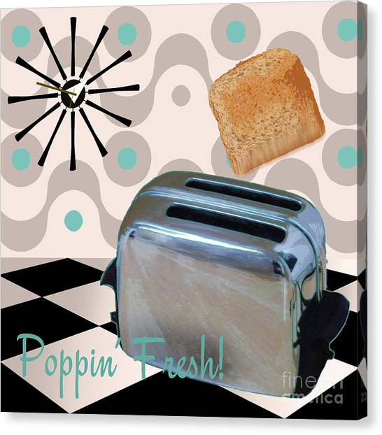 Retro Canvas Print - Fifties Kitchen Toaster by Mindy Sommers