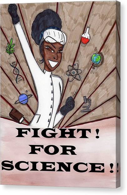 Political Science Canvas Print - Fight For Science by Ronald Woods