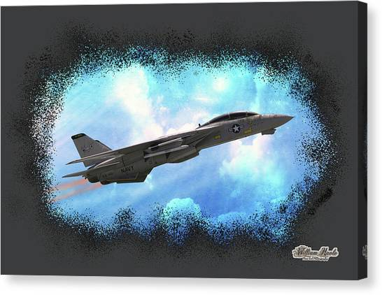 Canvas Print featuring the photograph Fighter Jet F-14 In The Clouds by William Havle