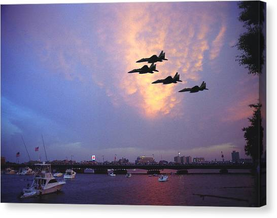 Fighter Jets Over Boston Canvas Print by Rose Martin