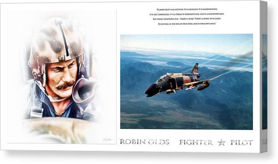 Robin Canvas Print - Robin Olds Fighter Pilot by Peter Chilelli