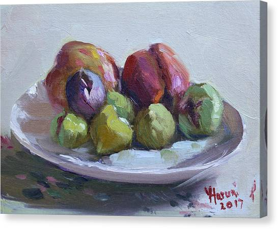 Peaches Canvas Print - Figs And Peaches by Ylli Haruni