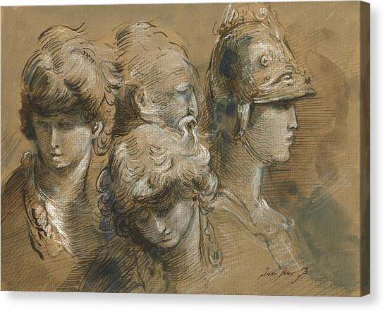 Old Masters Canvas Print - Figures Drawing by Juan Bosco