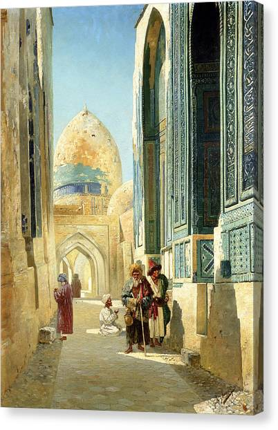 Islamic Art Canvas Print - Figures In A Street Before A Mosque by Richard Karlovich Zommer