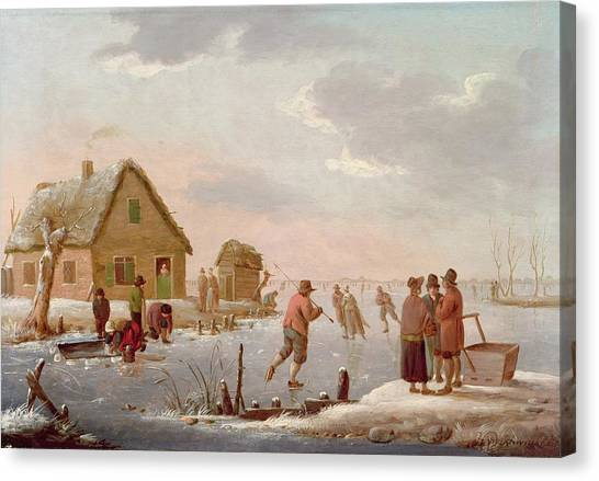 Figure Skating Canvas Print - Figures Skating In A Winter Landscape by Hendrik Willem Schweickardt