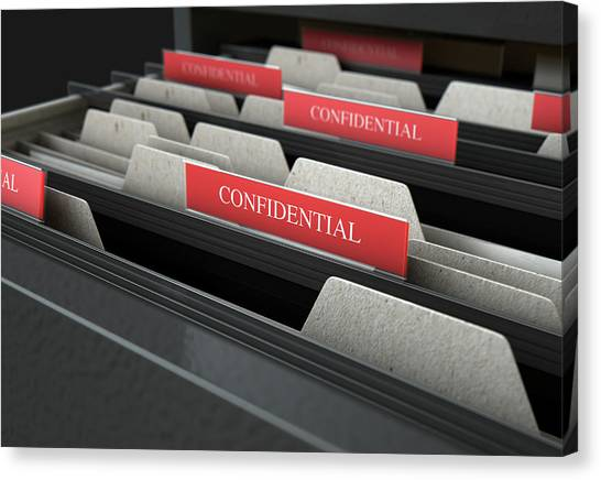 Folders Canvas Print - Filing Cabinet Drawer Open Confidential by Allan Swart