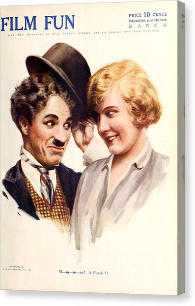 Film Fun Classic Comedy Magazine Featuring Charlie Chaplin And Girl 1916 Canvas Print