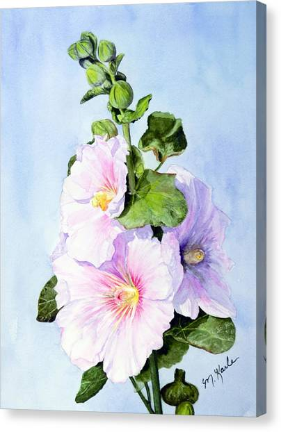 Finally Hollyhocks Canvas Print